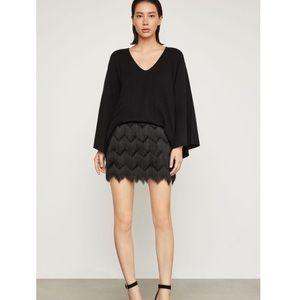 BBCBG Maxazria black fringy mini skirt size Small